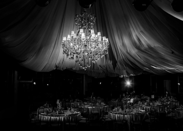 Great wedding indoor venue with chandeliers.